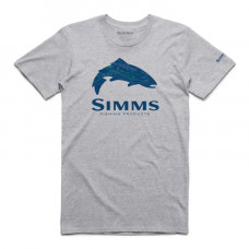 Simms Fire Hole Trout T-Shirt  Grey Heather xl