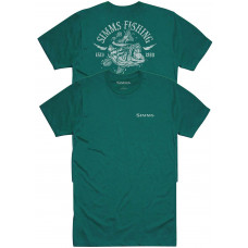 Simms Lightning Bass T-Shirt Dark Teal Heather M