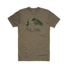 Simms Trout Hex Flo Camo T-Shirt Olive Heather M