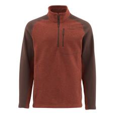 Simms Rivershed Fleece Sweater Zip Neck M Rusty Red