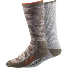 Wolverine Merino Wool Blend Boot Socks - 2-Pack Crew Grey Camo  L