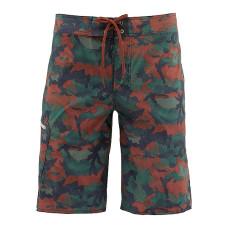 Simms Tumunu Print Boardshorts - UPF 50+ Hex Flo Camo Rusty Red 32