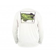 Simms Solar Tech T-Shirt - UPF 30+ Muskie Face White  L