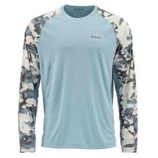SIMMS SolarFlex Crewneck Prints Hex Flo Camo Grey Blue  L
