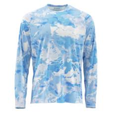 Simms SolarFlex LongSleeve Crewneck Prints Cloud Camo Blue L